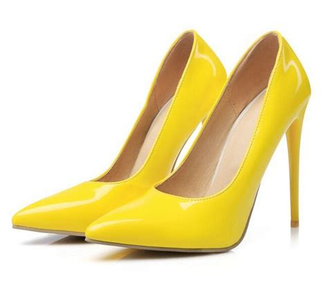 size 34 46 big commuter shoes 2017 yellow high heels shoes autumn pumps