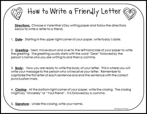 how to write a friendly letter free printables primary theme park