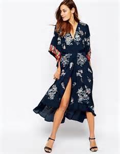 kimona dress asos asos embroidered kimono wrap midi dress at asos