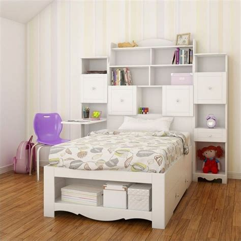 4 Piece Twin Bedroom Set In White With Bookcase Desk Bedroom Sets With Desk