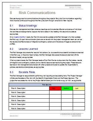 Risk Management Plan Template 24 Pg Ms Word Free Excel Templates Risk Management Plan Clinical Trials Template