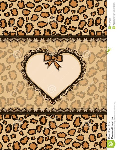svg pattern safari card with heart frame and leopard fur texture stock photos