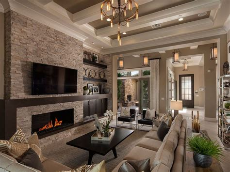 dramatic coffered ceiling defines  great room