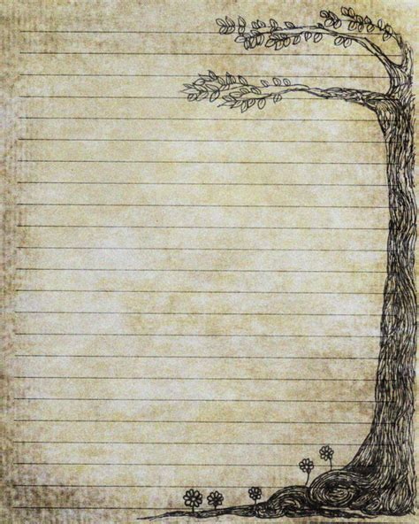 Fashioned Writing Paper Template items similar to printable journal page pen and ink drawing of a tree scrapbook instant