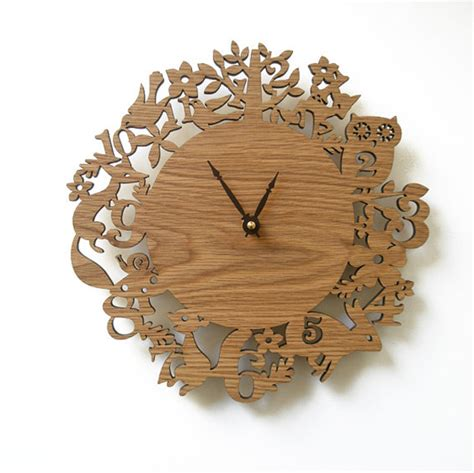 Wooden Decor by Wooden Clock Ideas With Animal Themed Home Design And