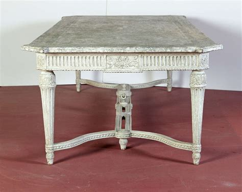Dining Room Table With Marble Top Large 19th Century Painted Dining Room Table With Faux Marble Top For Sale At 1stdibs