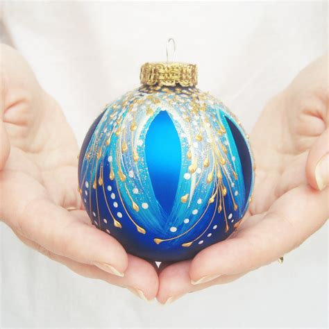 christmas ornament glass ball hand painted bauble holiday