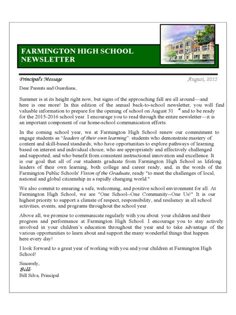 high school newsletter template school newsletter template 3 free templates in pdf word