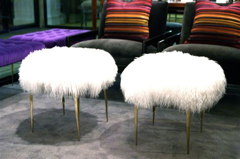 mongolian lamb ottoman pair of mongolian lamb stiletto ottomans at 1stdibs