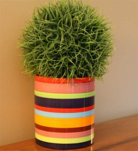 Painted Planter Pots by Striped Flower Pot Painted By Chalk Notes