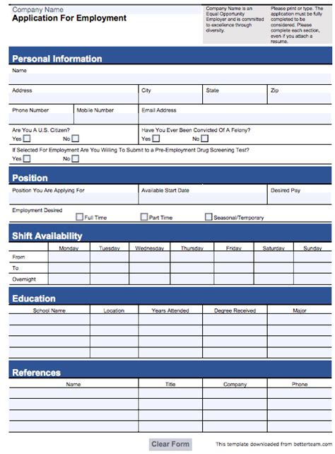 customizable employee job application form pdf and word