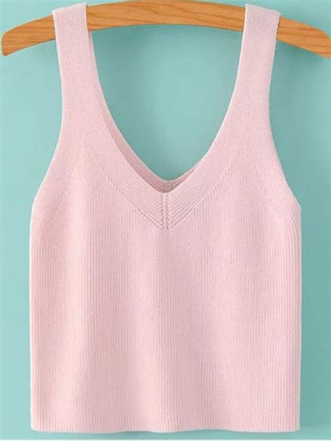 knit a tank top color v neck knit tank top pink tank tops s zaful
