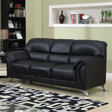 Black Leather Sofa With Chrome Legs by Global Furniture Usa 9103 Pvc Faux Leather Sofa In Black