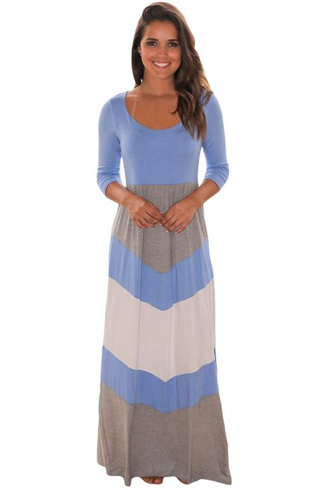 Viny 20684 Blue Style Quater Cardigan us 10 7 blue and gray chevron maxi dress dropshipping