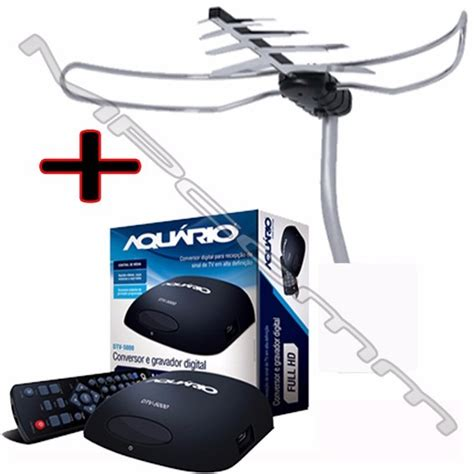 Antena F 5000 Kit Conversor Tv Digital Aquario Dtv 5000 Antena Externa