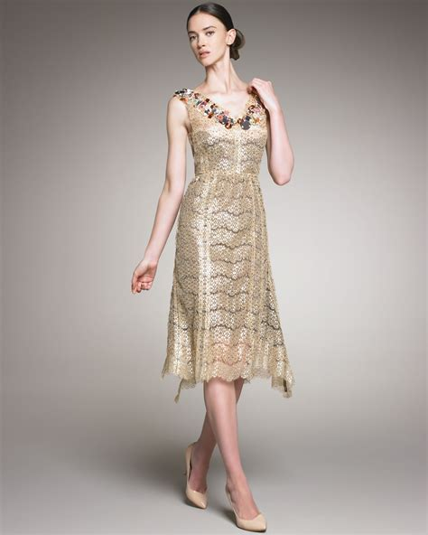 beaded neck dress ricci beaded neck lace dress in gold lyst