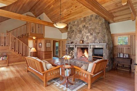 modern cabin style living room cozy fireplace ark house