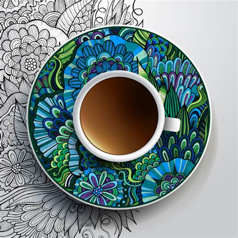 ethnic ornaments ethnic pattern ornaments and coffee cups vector 04