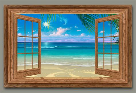 Waterfall Wall Mural seascape window and beach paintings