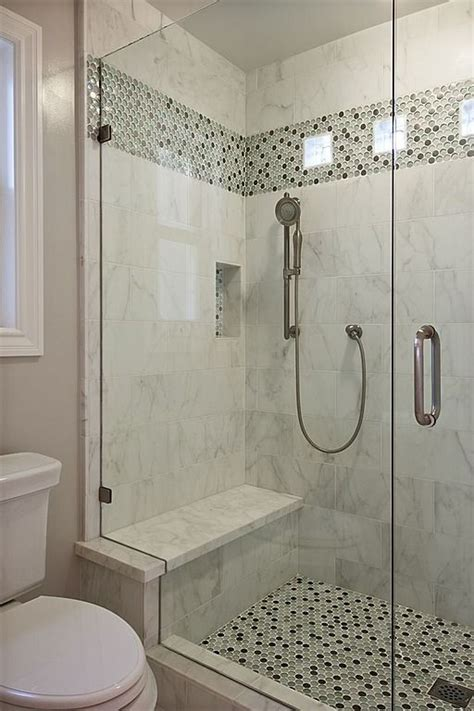 shower stall ideas a plain tile type w the same accent for both floor and