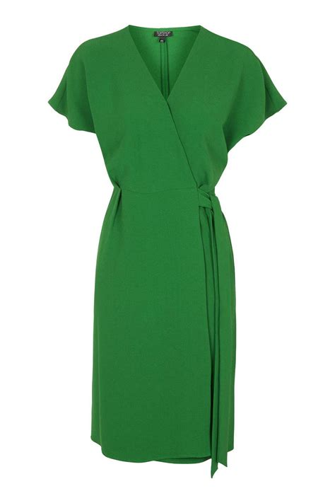 topshop wrap dress in green lyst