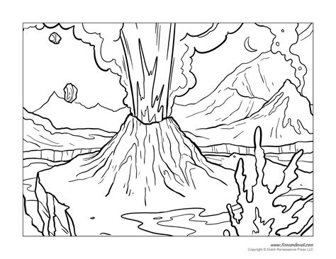 coloring page of volcano volcano coloring pages