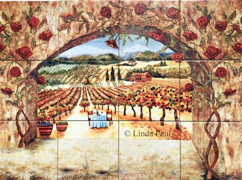 tile art italian tiles  vineyard roses backsplash tiles
