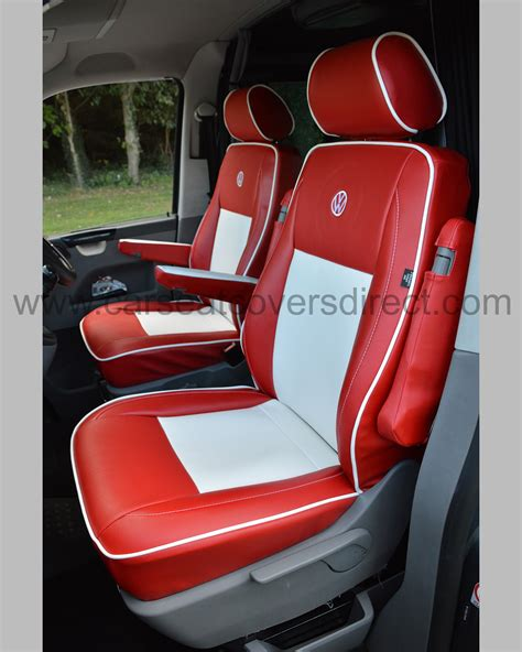 vw seat upholstery vw t5 seat covers red white leatherette car seat