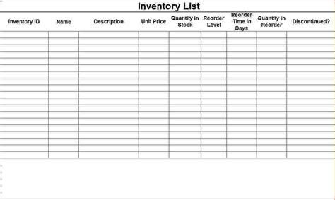 Home Inventory List Template Free Microsoft Word Templates Html Autos Weblog Excel Stock Template