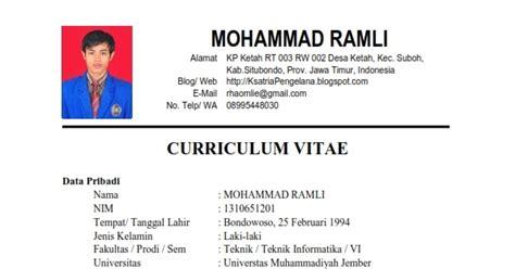 contoh curriculum vitae pengajuan beasiswa ksatria pengelana contoh gambar untuk resume obtenez livre