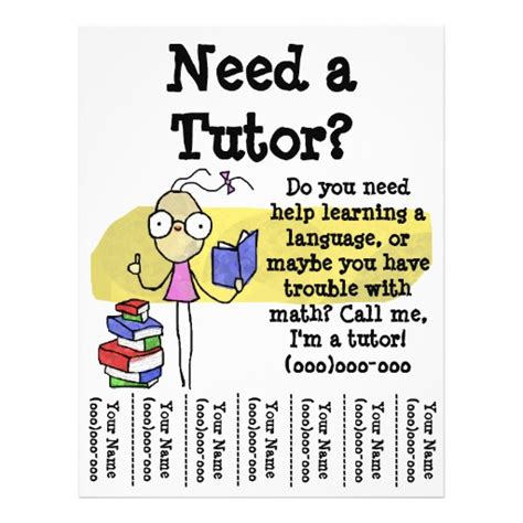 templates for tutoring flyers girl tutor flyer