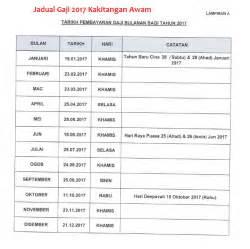 Kalendar 2018 Kerajaan Malaysia Jadual Gaji 2017 Kakitangan Awam