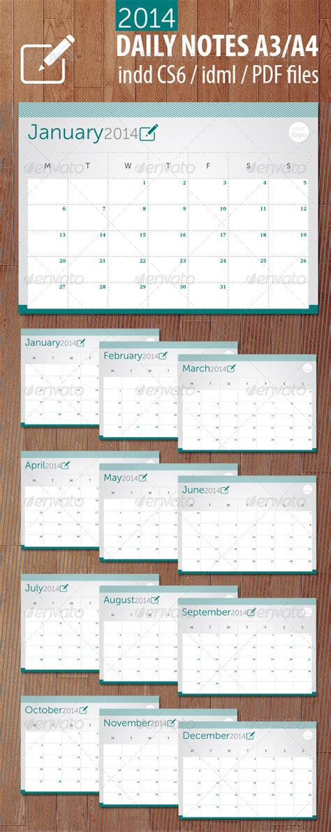 daily calendar template 2014 daily notes 2014 graphicriver