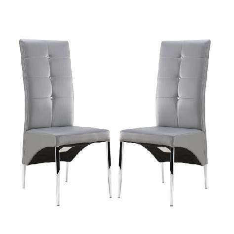 gray leather dining room chairs vesta studded dining room chair in grey faux leather a for