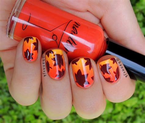 easy nail art leaf gradient fall leaves nail tutorial youtube