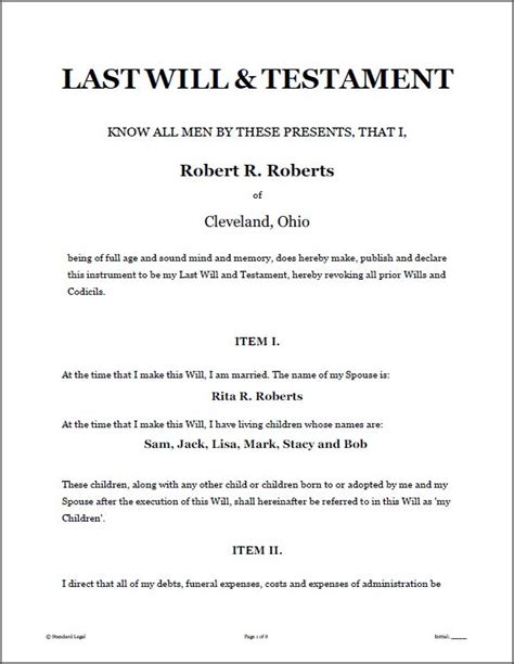 microsoft word will template printable sle last will and testament template form