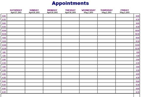 Printable Weekly Appointment Calendar Onlyagame Daily Appointment Template