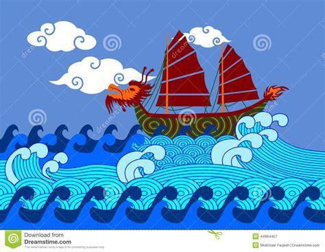 cartoon chinese boat chinese boat on sea cartoon vector cartoondealer