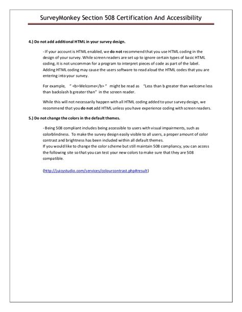 section 508 compliance certification survey monkey section 508 accessibility guide