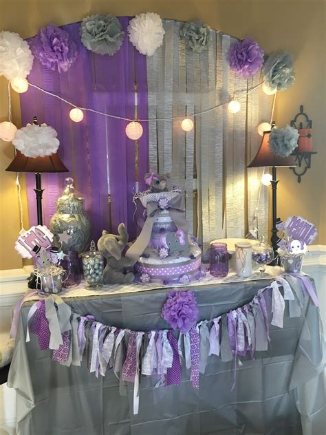 Baby Shower Themes And Decorations by Grey And Lavender Baby Shower Elephant Theme So Much