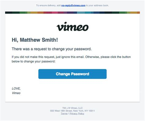 password reset email from vimeo really good emails