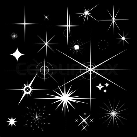 Home Decoration Collection Set Of Sparkles Star Vector Sparkle White Symbols On