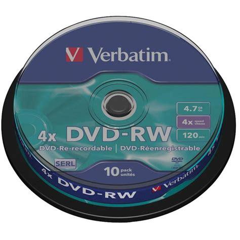 dvd rw 4x 4 7gb verbatim verbatim 43552 dvd rw matt silver 4x 4 7gb pack of 10
