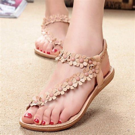 Flat Shoes Pink Bunga Flowers Jelly Flat Shoes Fse022 bohemia flower flip flop shoes flat sandals