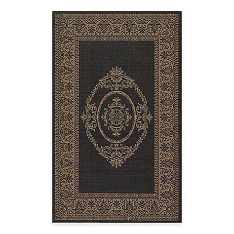 couristan indoor outdoor rugs couristan antique medallion indoor outdoor rugs in black cocoa bed bath beyond