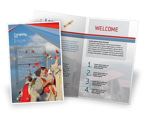 graduation in blue colors brochure template design and
