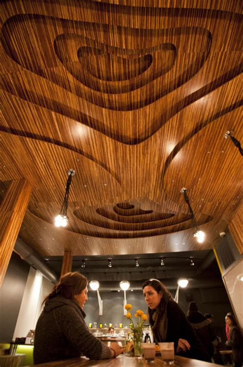 Bamboo Ceiling Design by Marbled Bamboo Plywood On Cafe Ceiling Walls And Countertop