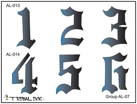 tribal tattoo numbers airbrush stencil set numbers large 07