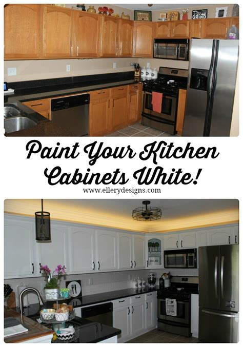 painting your kitchen cabinets white our diy kitchen remodel painting your cabinets white