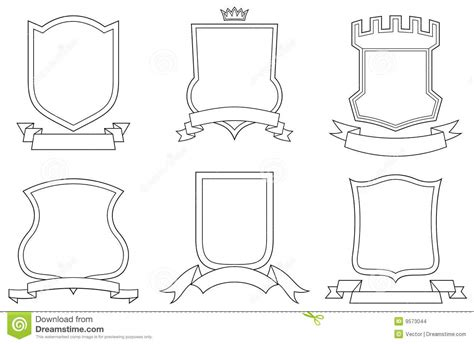 set of vector emblems crests shields and scrolls stock